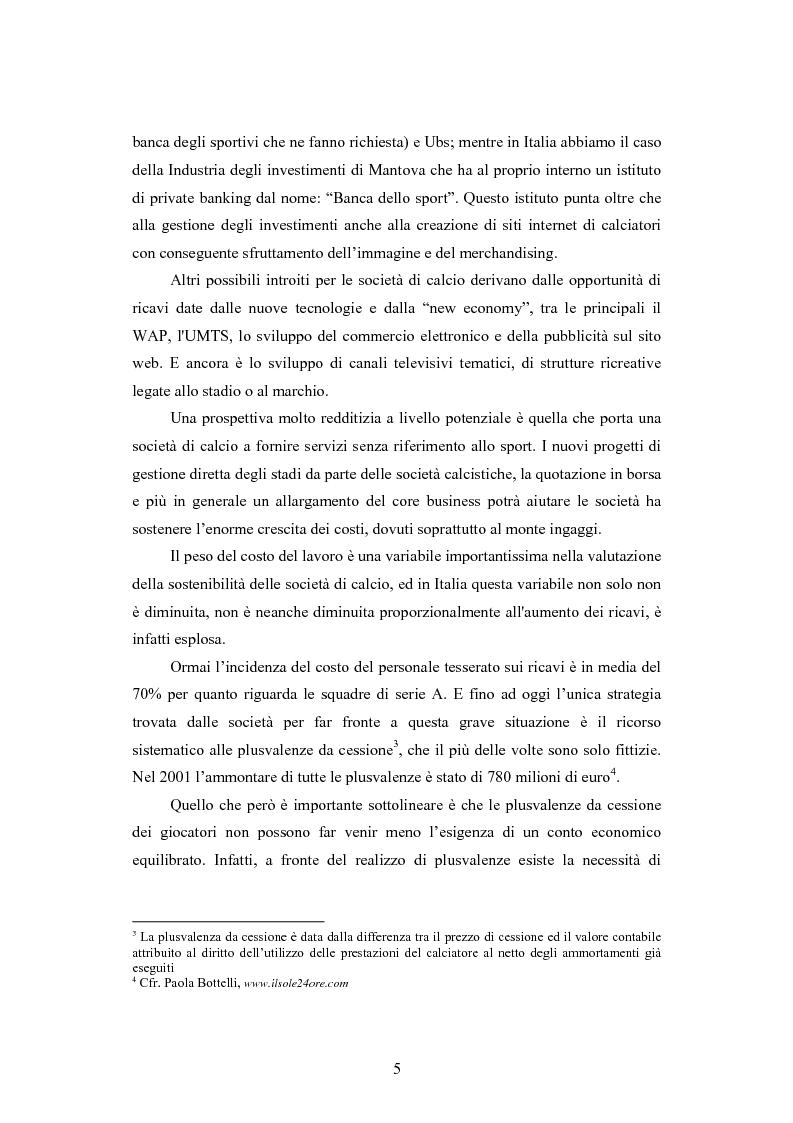 Anteprima della tesi: Problematiche contabili e di bilancio delle società calcistiche, Pagina 2