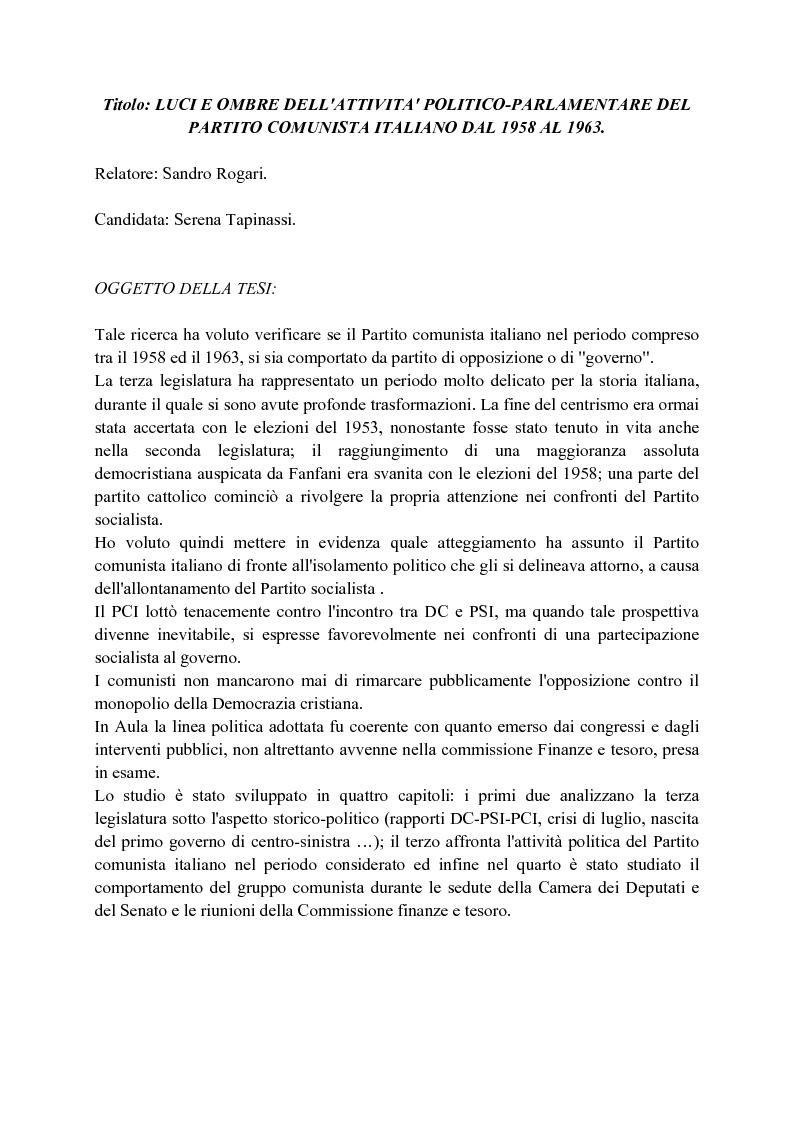 Anteprima della tesi: Luci e ombre dell'attività politico-parlamentare del partito comunista italiano dal 1958 al 1963, Pagina 1