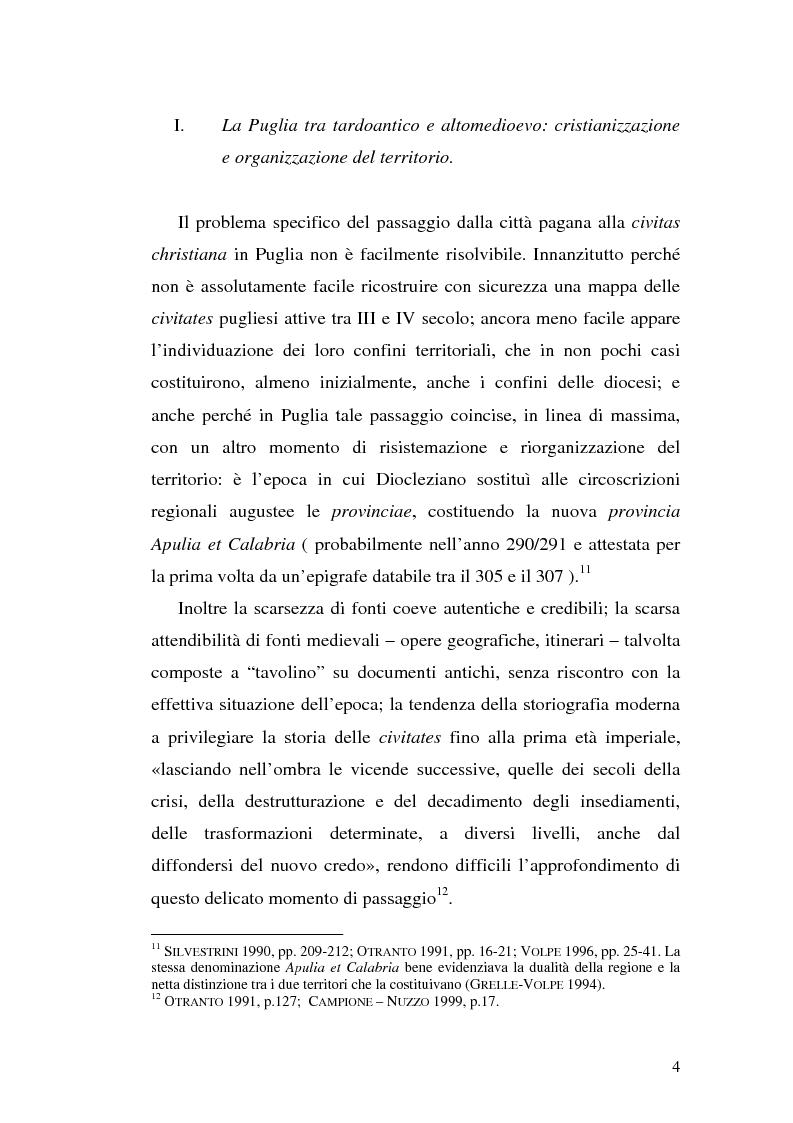 Anteprima della tesi: Sepolture tardoantiche e altomedievali nelle Puglia centro-settentrionale, Pagina 4