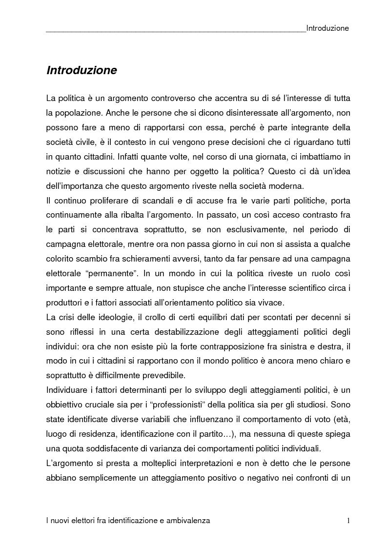Anteprima della tesi: I nuovi elettori fra identificazione e ambivalenza, Pagina 1