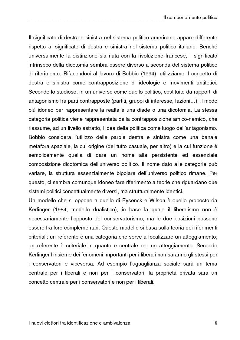 Anteprima della tesi: I nuovi elettori fra identificazione e ambivalenza, Pagina 8