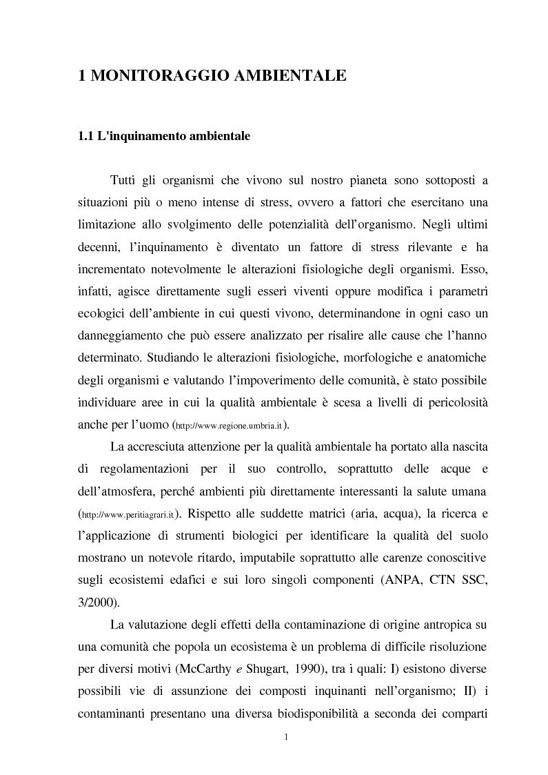 Anteprima della tesi: Valutazione dello stato fisiologico di organismi sentinella (Tapes Philippinarum e Mytilus Galloprovincialis) mediante l'uso di biomarkers, Pagina 1
