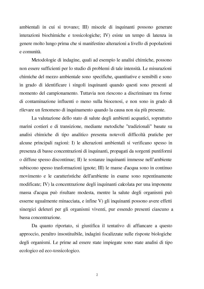 Anteprima della tesi: Valutazione dello stato fisiologico di organismi sentinella (Tapes Philippinarum e Mytilus Galloprovincialis) mediante l'uso di biomarkers, Pagina 2