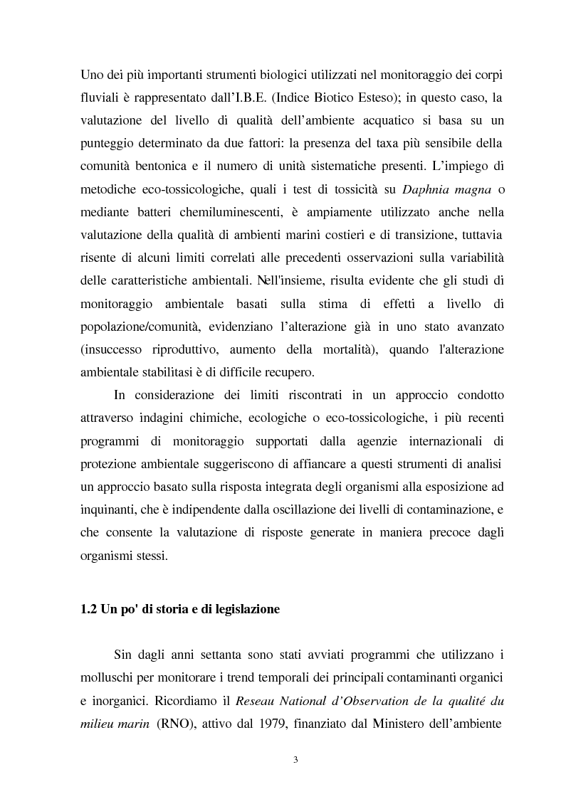 Anteprima della tesi: Valutazione dello stato fisiologico di organismi sentinella (Tapes Philippinarum e Mytilus Galloprovincialis) mediante l'uso di biomarkers, Pagina 3