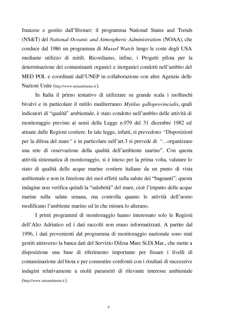 Anteprima della tesi: Valutazione dello stato fisiologico di organismi sentinella (Tapes Philippinarum e Mytilus Galloprovincialis) mediante l'uso di biomarkers, Pagina 4