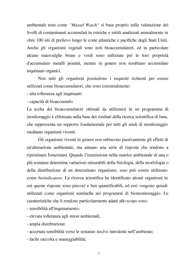Anteprima della tesi: Valutazione dello stato fisiologico di organismi sentinella (Tapes Philippinarum e Mytilus Galloprovincialis) mediante l'uso di biomarkers, Pagina 7