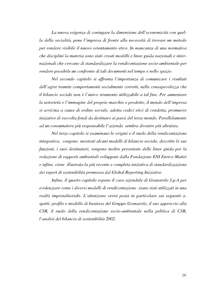 Anteprima della tesi: Il bilancio di sostenibilità: il caso Granarolo, Pagina 2