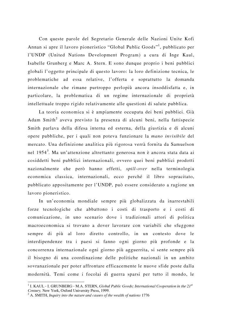 Anteprima della tesi: Brevettabilità dei beni globali e benessere collettivo: il caso dei farmaci contro l'Aids, Pagina 2