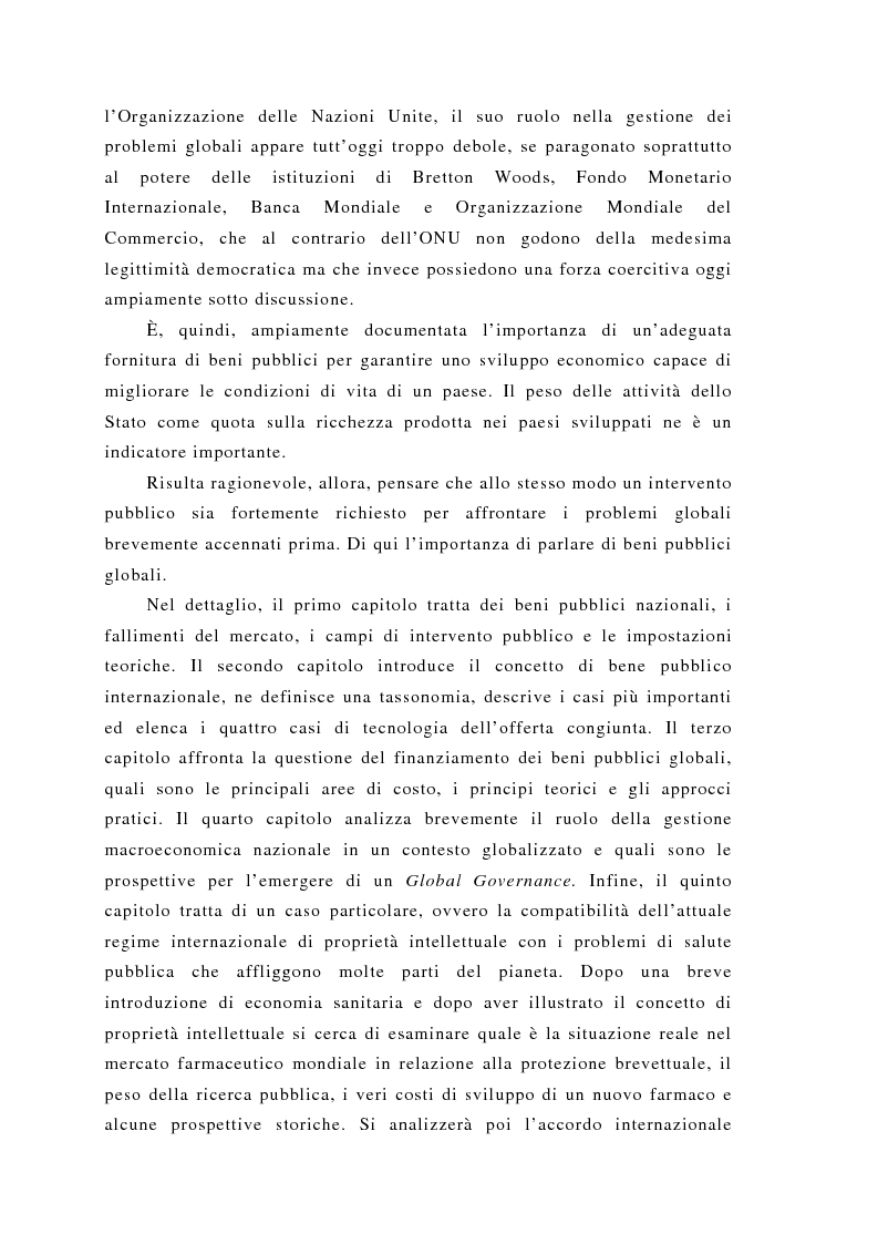 Anteprima della tesi: Brevettabilità dei beni globali e benessere collettivo: il caso dei farmaci contro l'Aids, Pagina 4
