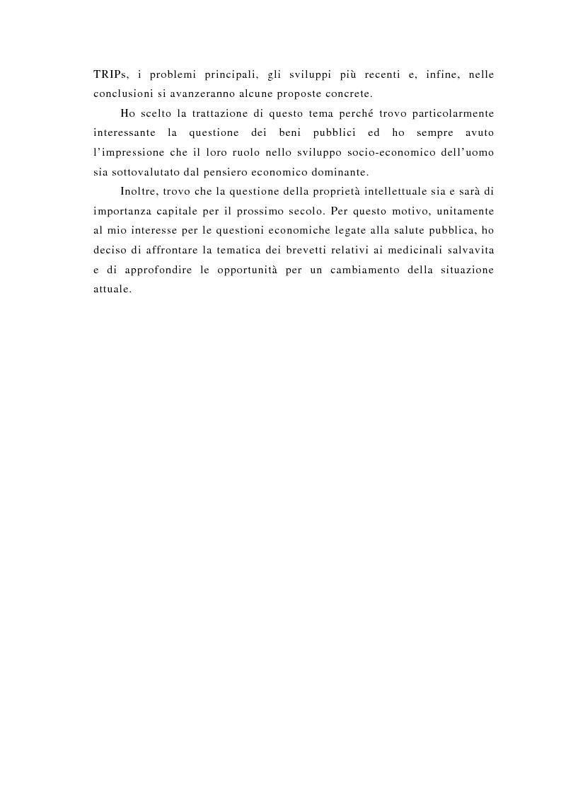 Anteprima della tesi: Brevettabilità dei beni globali e benessere collettivo: il caso dei farmaci contro l'Aids, Pagina 5