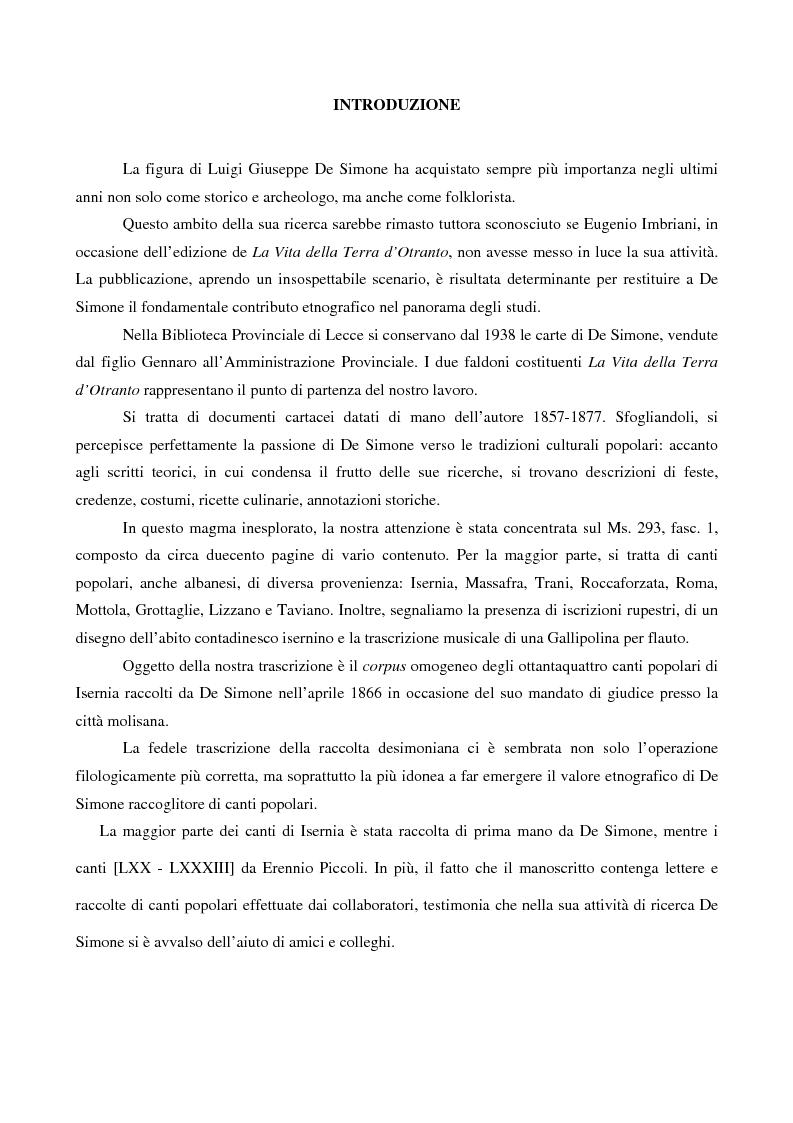 Anteprima della tesi: Canti popolari tra le carte inedite di Luigi Giuseppe De Simone: Ms. 293 fasc. 1 Biblioteca Provinciale di Lecce, Pagina 2