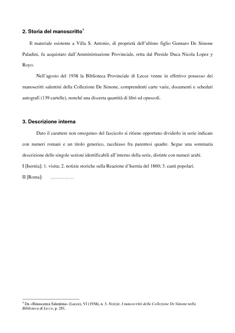 Anteprima della tesi: Canti popolari tra le carte inedite di Luigi Giuseppe De Simone: Ms. 293 fasc. 1 Biblioteca Provinciale di Lecce, Pagina 8