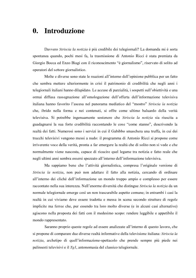 Anteprima della tesi: I fatti e la loro messa in scena: due casi di informazione televisiva a confronto, Pagina 1