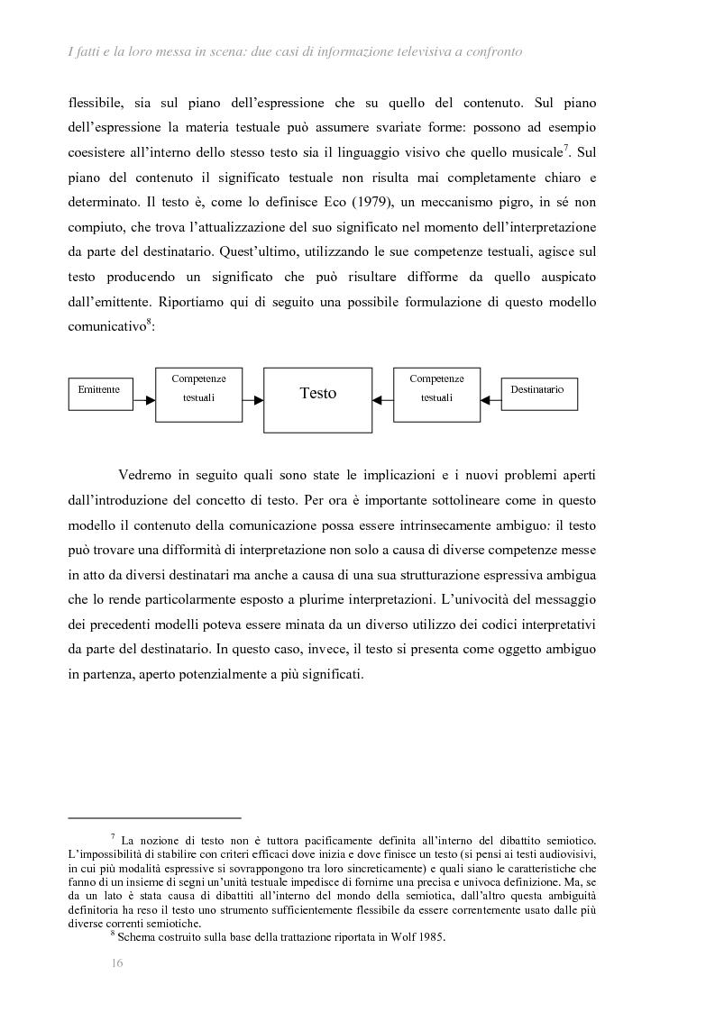 Anteprima della tesi: I fatti e la loro messa in scena: due casi di informazione televisiva a confronto, Pagina 12