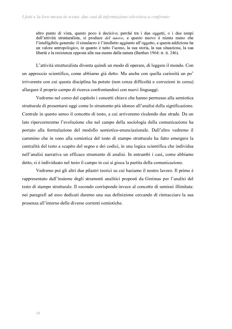 Anteprima della tesi: I fatti e la loro messa in scena: due casi di informazione televisiva a confronto, Pagina 6