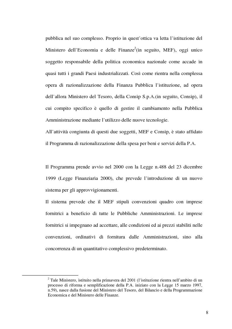 Anteprima della tesi: Il programma di razionalizzazione della spesa per beni e servizi della P. A. e Pmi: criticità e possibili soluzioni, Pagina 2