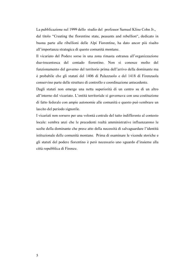 Anteprima della tesi: Gli statuti del vicariato del Podere Fiorentino: Palazzuolo (1406) e Firenzuola (1418), Pagina 2