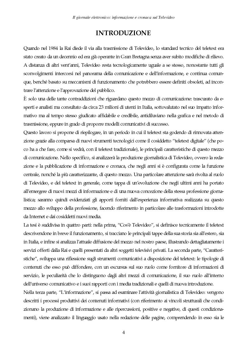 Anteprima della tesi: Il giornale elettronico: informazione e cronaca sul Televideo, Pagina 1