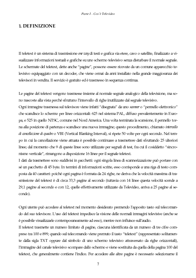 Anteprima della tesi: Il giornale elettronico: informazione e cronaca sul Televideo, Pagina 4