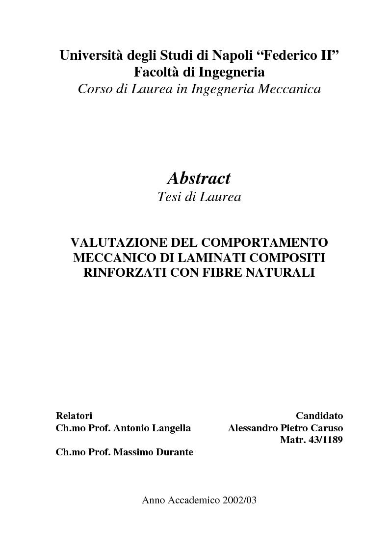Anteprima della tesi: Valutazione del comportamento meccanico di laminati compositi rinforzati con fibre naturali, Pagina 1