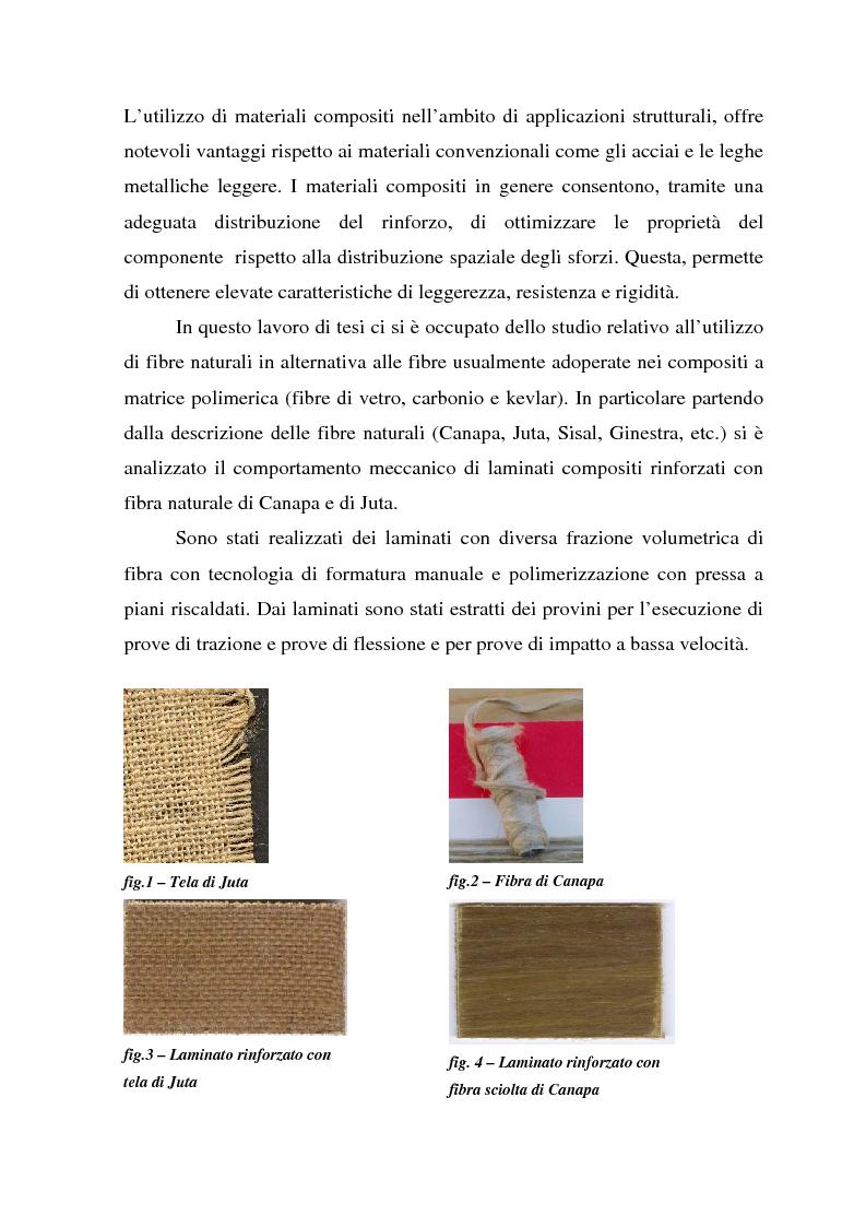 Anteprima della tesi: Valutazione del comportamento meccanico di laminati compositi rinforzati con fibre naturali, Pagina 2