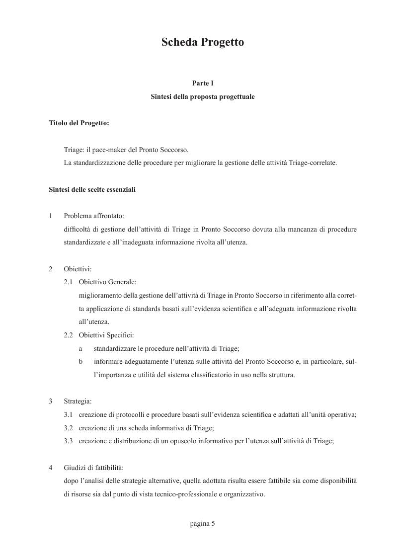 Anteprima della tesi: Triage: il pace-maker del pronto soccorso (la standardizzazione delle procedure per migliorare la gestione delle attività correlate), Pagina 2