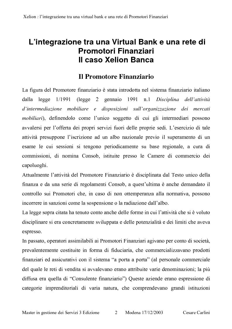 Anteprima della tesi: Integrazione tra una banca on line ed una rete di promotori finanziari, il caso Xelion, Pagina 1