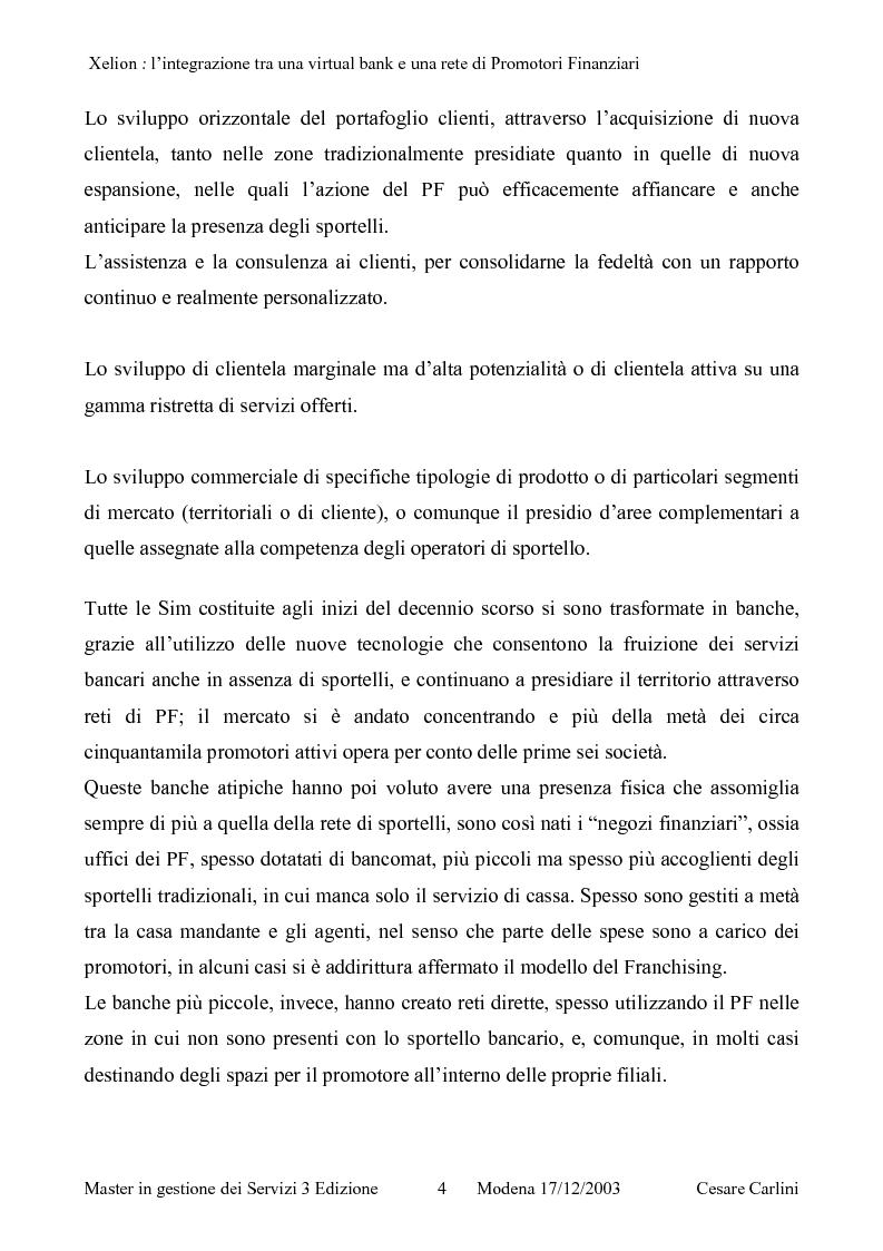 Anteprima della tesi: Integrazione tra una banca on line ed una rete di promotori finanziari, il caso Xelion, Pagina 3
