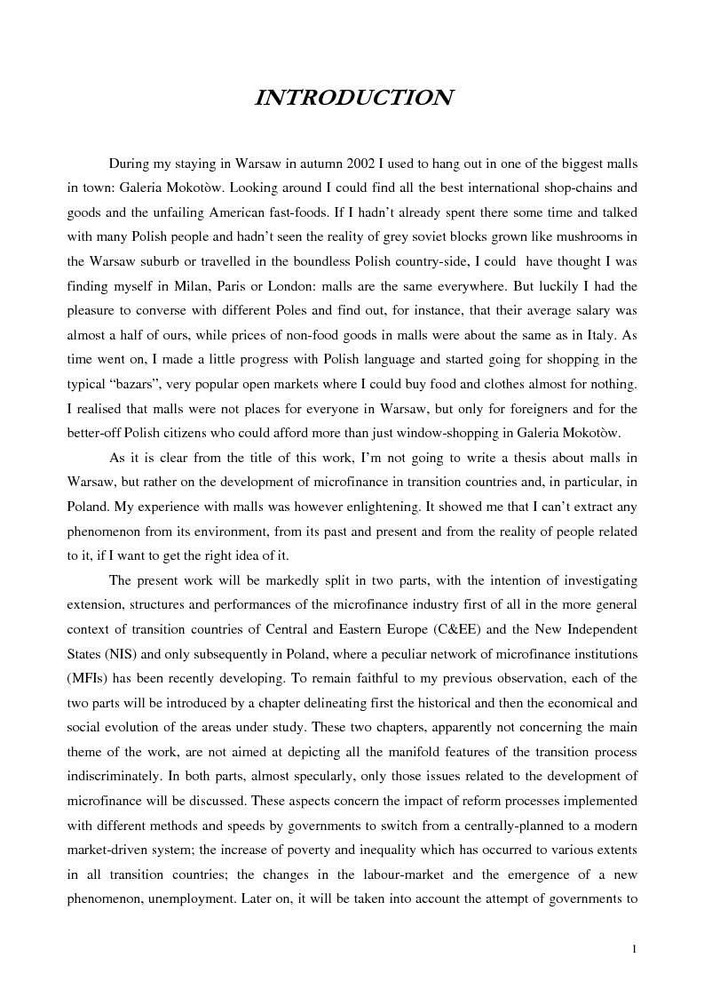 Anteprima della tesi: La microfinanza nei paesi post-comunisti: il caso della Polonia, Pagina 8