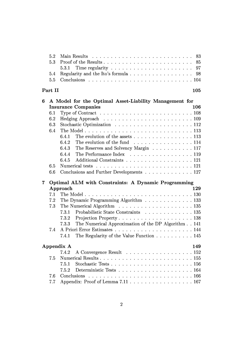 Indice della tesi: Viscosity Solutions and Optimization in Mathematical Finance, Pagina 2