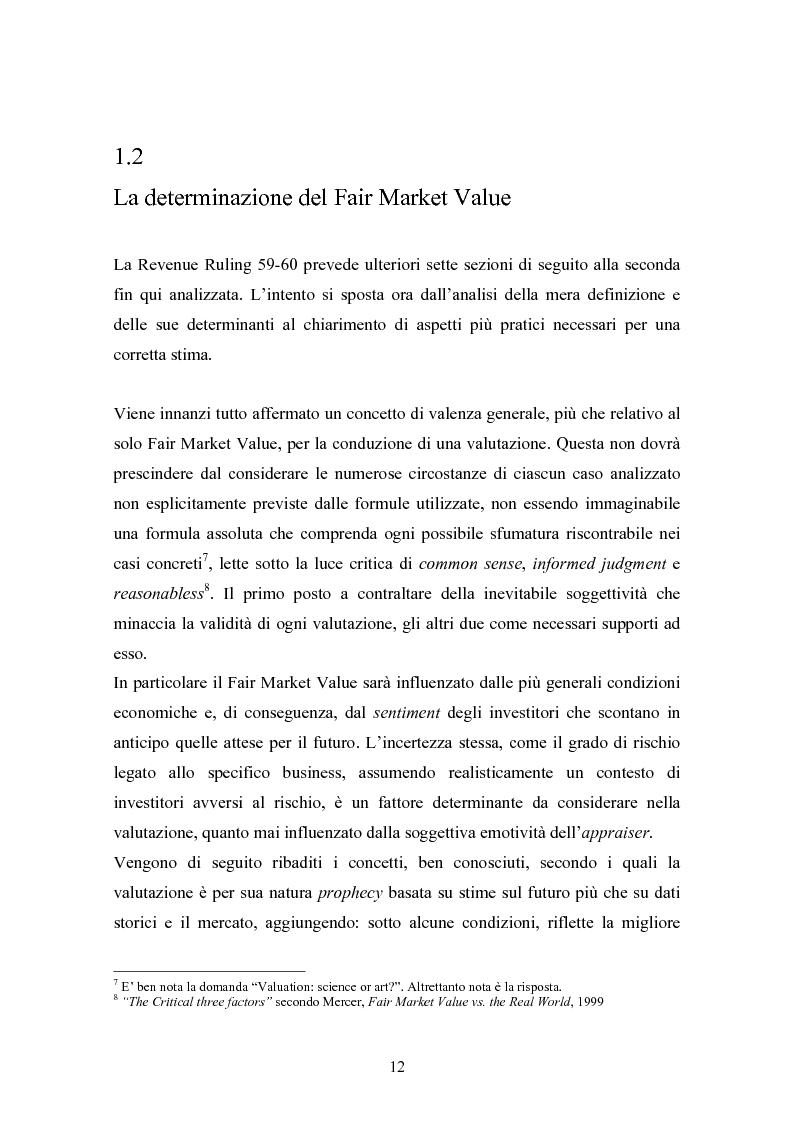 Anteprima della tesi: Fair market value d'impresa: un'analisi delle determinanti economiche, Pagina 9