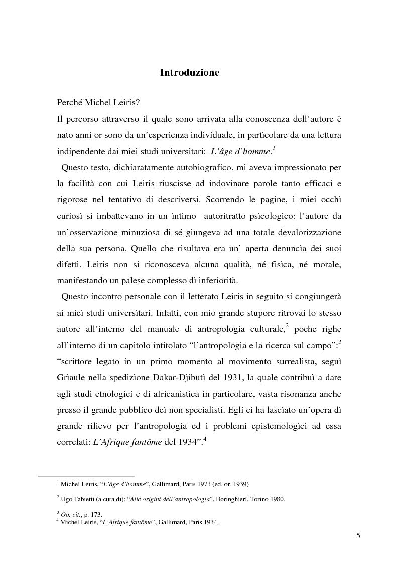 Anteprima della tesi: Rivisitando Michel Leiris: analisi storico-culturale di un autore tra le due guerre, Pagina 1
