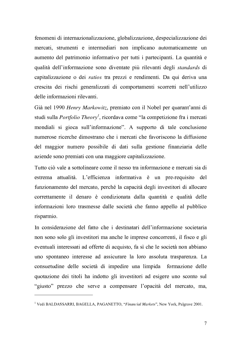 Anteprima della tesi: L'insider trading: la realtà italiana a confronto con le principali realtà estere, Pagina 5