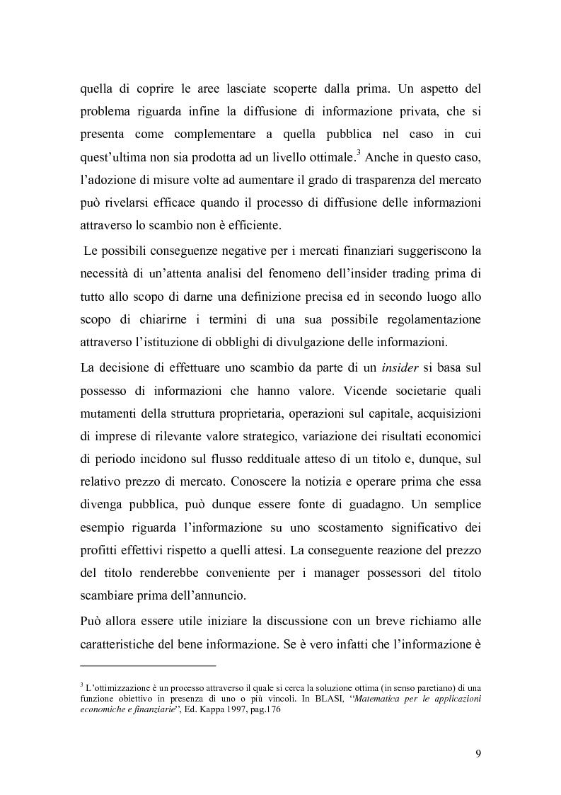 Anteprima della tesi: L'insider trading: la realtà italiana a confronto con le principali realtà estere, Pagina 7