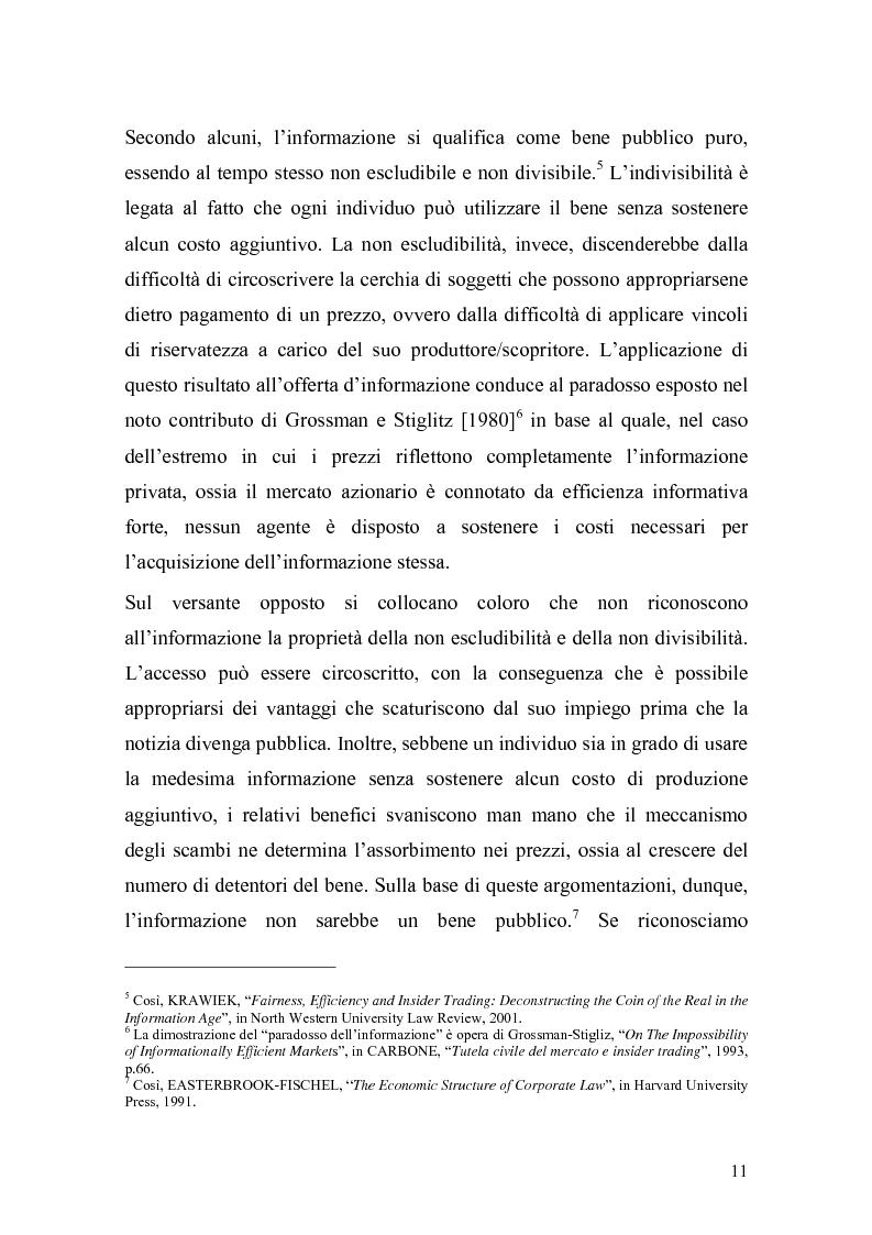 Anteprima della tesi: L'insider trading: la realtà italiana a confronto con le principali realtà estere, Pagina 9