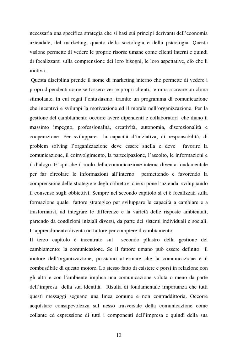 Anteprima della tesi: Le risorse umane e la comunicazione nella gestione dei processi di cambiamento, Pagina 5