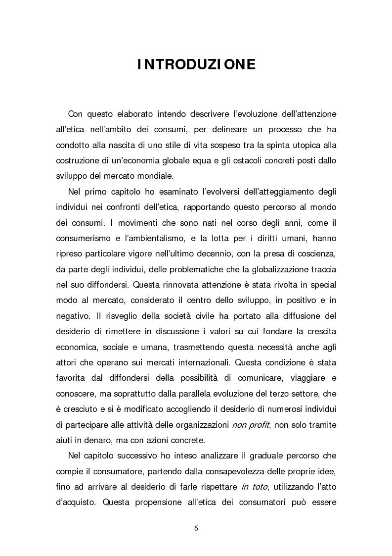 Anteprima della tesi: Il consumatore etico e solidale: prospettive e sviluppo di un nuovo stile di vita tra realtà e utopia, Pagina 1