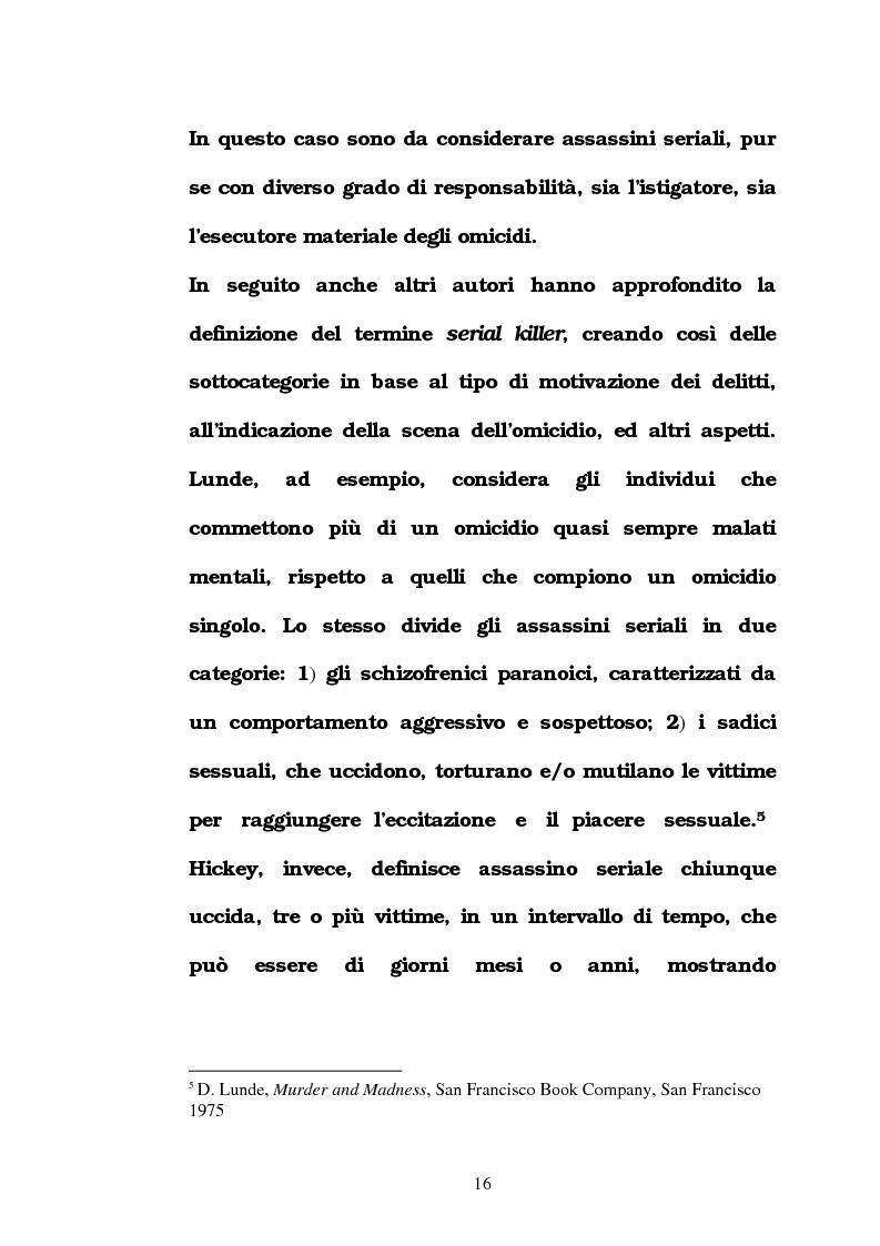 Anteprima della tesi: L'omicidio seriale con particolare riferimento alla donna serial-killer, Pagina 11