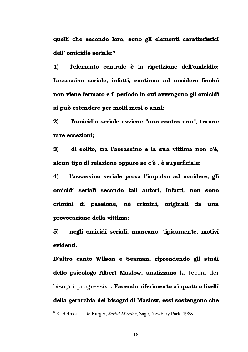Anteprima della tesi: L'omicidio seriale con particolare riferimento alla donna serial-killer, Pagina 13