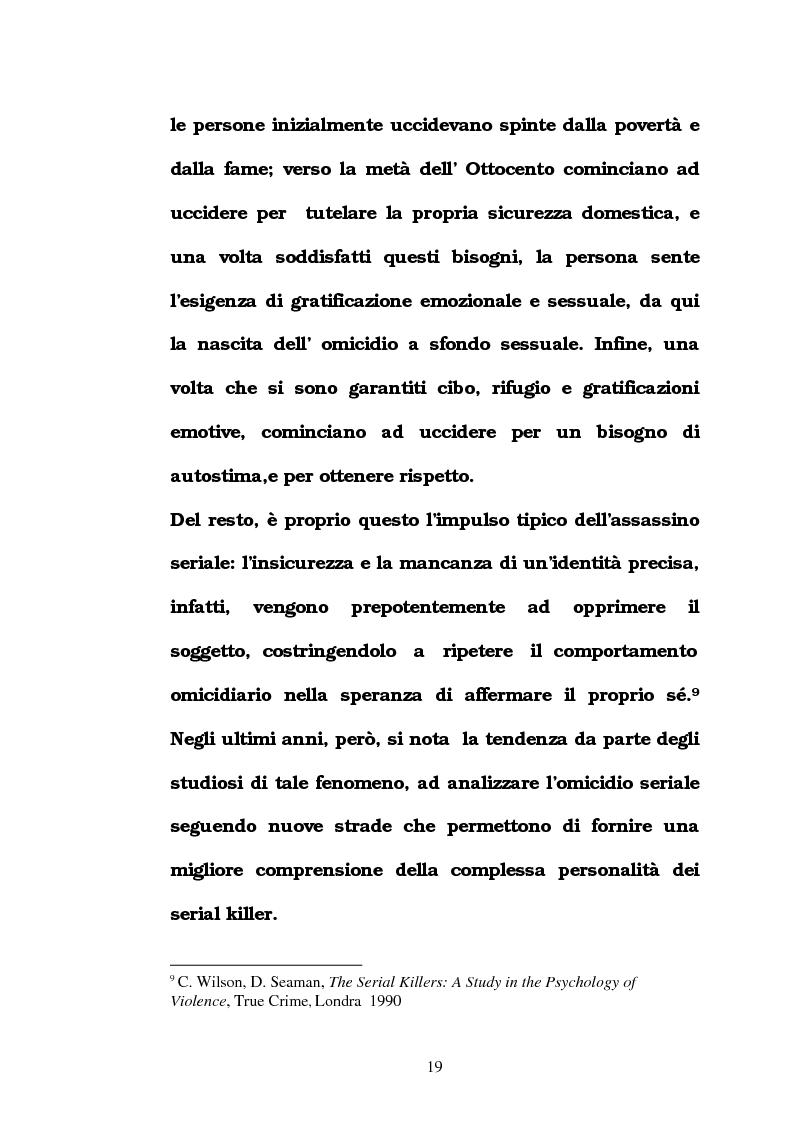 Anteprima della tesi: L'omicidio seriale con particolare riferimento alla donna serial-killer, Pagina 14