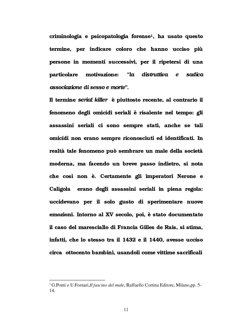 Anteprima della tesi: L'omicidio seriale con particolare riferimento alla donna serial-killer, Pagina 6