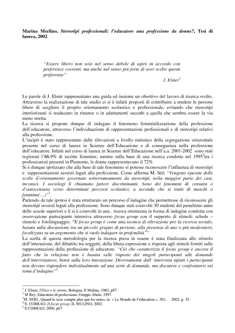 Anteprima della tesi: Stereotipi professionali: l'educatore una professione da donne?, Pagina 1