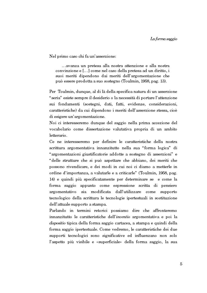 Anteprima della tesi: La forma-saggio nei sistemi ipertestuali informatici, Pagina 5