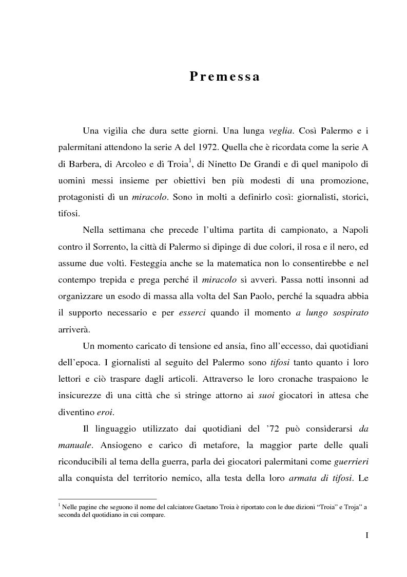 Anteprima della tesi: Palermo 1972: aspettando la serie A - L'attesa per l'ultima partita di campionato, tra giornalismo e tifoseria, Pagina 1
