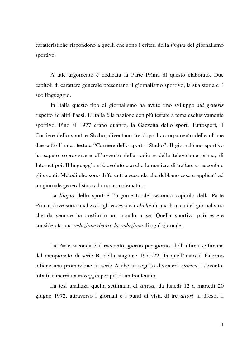 Anteprima della tesi: Palermo 1972: aspettando la serie A - L'attesa per l'ultima partita di campionato, tra giornalismo e tifoseria, Pagina 2