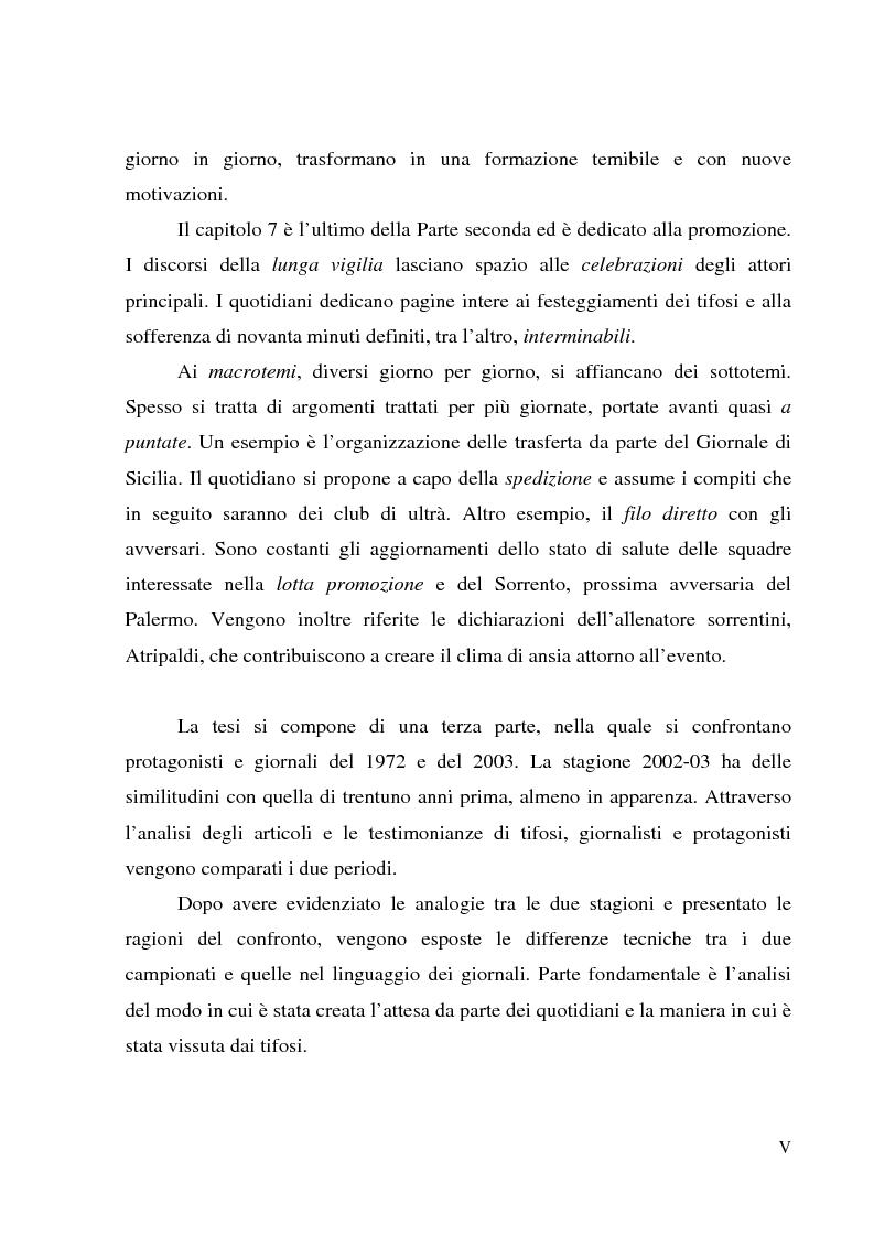 Anteprima della tesi: Palermo 1972: aspettando la serie A - L'attesa per l'ultima partita di campionato, tra giornalismo e tifoseria, Pagina 5