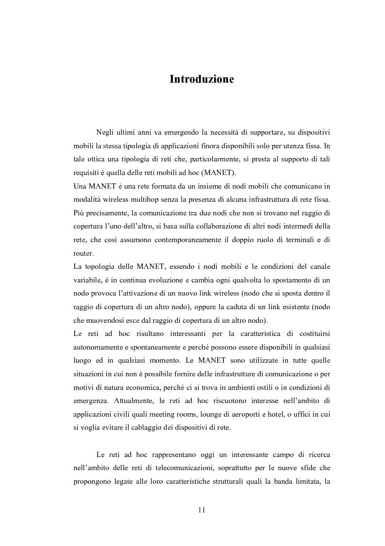 Anteprima della tesi: QSRP: un protocollo di routing per la qualità del servizio in reti ad hoc, Pagina 1