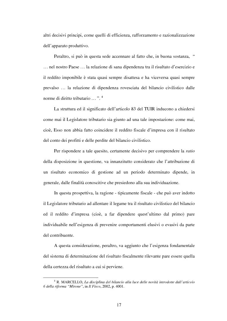 Anteprima della tesi: Deducibilità dei costi dal reddito d'impresa: il principio dell'imputazione al conto economico, Pagina 10
