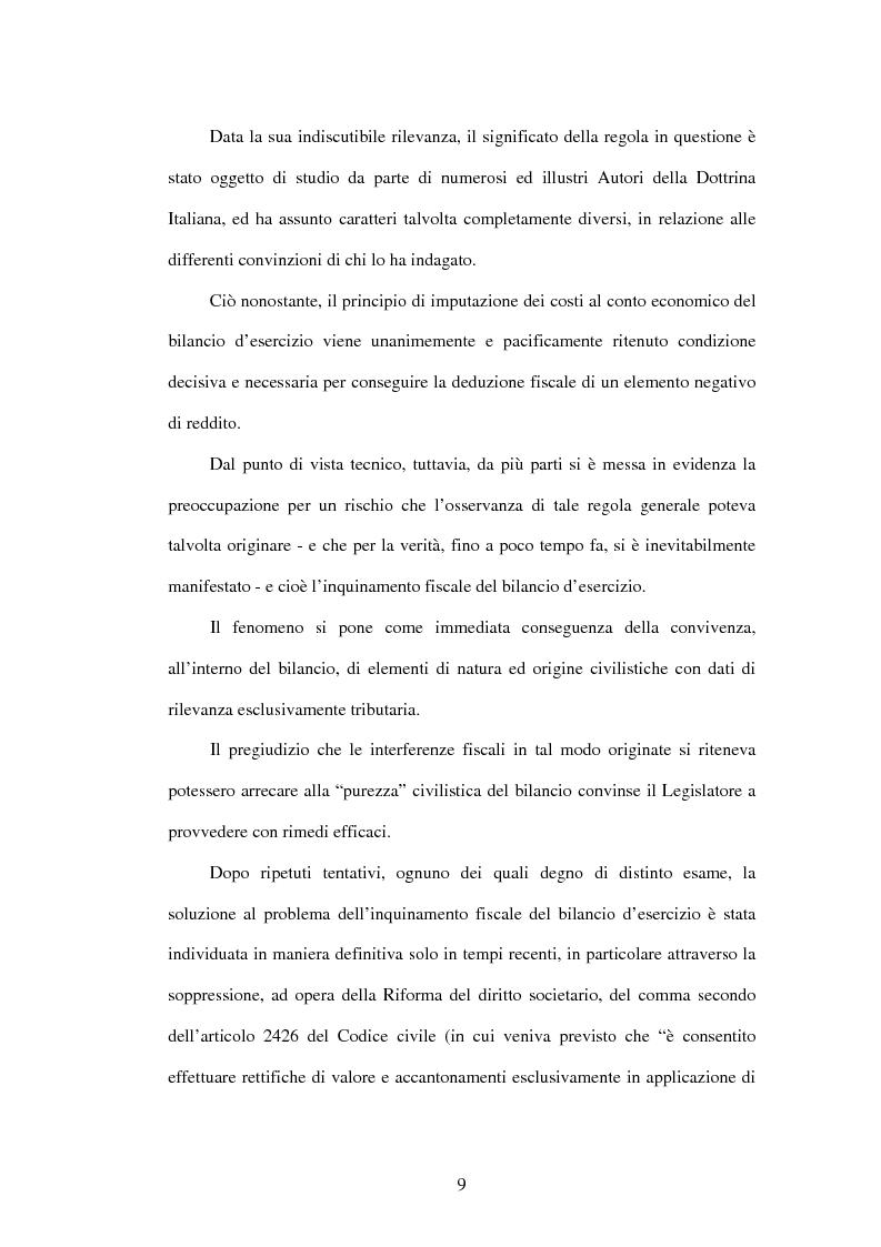 Anteprima della tesi: Deducibilità dei costi dal reddito d'impresa: il principio dell'imputazione al conto economico, Pagina 2