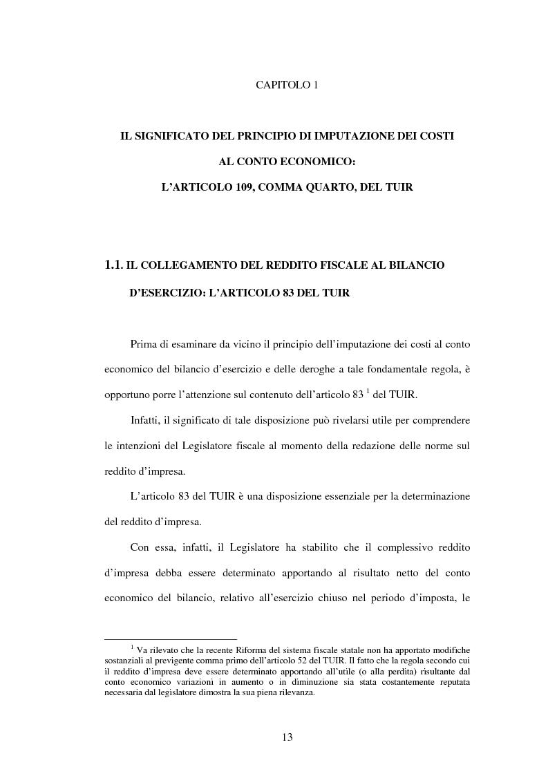 Anteprima della tesi: Deducibilità dei costi dal reddito d'impresa: il principio dell'imputazione al conto economico, Pagina 6